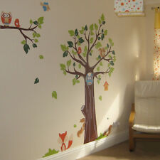 Animal and Tree Monkey Elephant Lion Owl Fox Nursery Wall Stickers, Wall Art