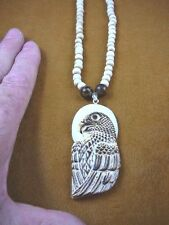 j-eagle-5) Bald EAGLE bird aceh bovine bone carving PENDANT Tiger's eye NECKLACE