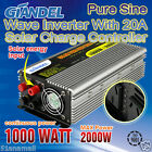 NEW Pure Sine Wave Inverter With Solar Input 1000W/2000W12V-240V Remote Control