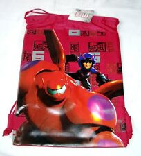 Red Disney Big Hero 6 Drawstring Backpack Childs Sling Shoulder School Gym Bag