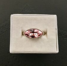 NWT Marquise horizontal cut Pink Topaz sterling silver filigree ring 7