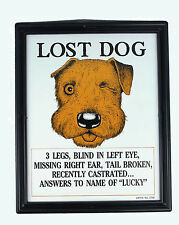 Lost Dog Lucky Plaque   Adult Only Gag / Joke