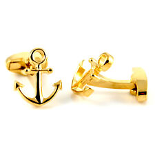 Gold Plated Sailing Ships Anchor CUFFLINKS Captain Crew Cruise Present Gift Box