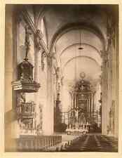 Suisse, Intérieur de la Cathédrale de Lucerne  Vintage albumen print.  Tirage