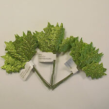 Small Artificial Green Glitter Holly Leaf Picks x 36 - Christmas Decoration