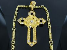 "CROSS GOLD TONE  PENDANT CHARM 30"" CHAIN NECKLACE HIPHOP BLING"