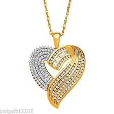 18K Over Sterting Silver 1.00CTTW Diamond Heart Pendant w/ 18 in Chain Necklace