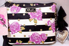 NWT BETSEY JOHNSON ROSE FLORAL GLITTER HEART CROSSBODY SHOULDER BAG PURSE $48