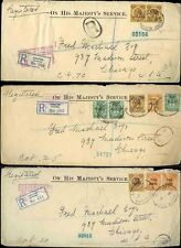 JAMAICA WAR TAX 1916-17 REGISTERED OHMS to CHICAGO...3 COVERS...10 stamps