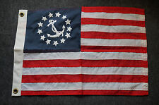 "Vintage Yacht Ensign US Flag Nautical 13 Sewn Stars Anchor & Stripes  17"" X 12"""