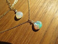 STUNNING AAA ETHIOPIAN WELO OPAL BRIOLETTE PENDANT BEAD GOLD FILLED NECKLACE