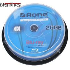 Aone BD-R Blu-Ray 4x White Inkjet Printable Discs - 25GB - 10 Pack Spindle