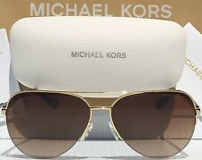 NEW* MICHAEL KORS AVIATOR Tortoise GOLD w Brown MK5008 SPERONE Rimless Sunglass