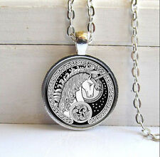 Vintage unicorn Cabochon Tibetan silver Glass Chain Pendant Necklace