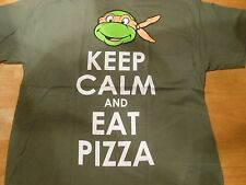 TMNT TURTLES MICHAELANGELO KEEP CALM AND EAT PIZZA KHAKI  TEE SIZE:XL***NEW***