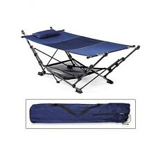 Zenithen Folding Portable Travel Hammock - Navy Mesh With Steel Frame