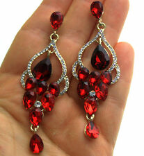 Rhinestone Crystal Chandelier Earrings Bridal Prom Pageant 3.1 inch Long Red