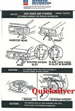 1973 Dodge Charger Coronet Jacking Instructions Trunk Lid Decal NEW MoPar