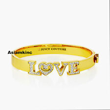 Juicy Couture Pave Love Hinged Bangle Gold Women BNIB*