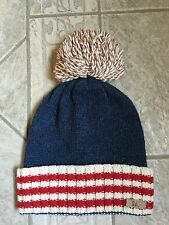 Gap Winter Stocking Hat Cap Pompom Red White and Blue 100% Wool