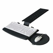 Rotating Underdesk Keyboard Slide Tray With Moving Mouse Pad Office Desk Black