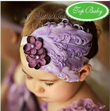 Baby Vintage Headband flower Feather Pad prop hair band Accessorie