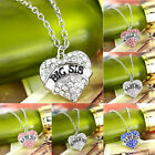 Charm Women Love Hot Crystal Heart Big Little Baby Sister Pendant Necklace Party