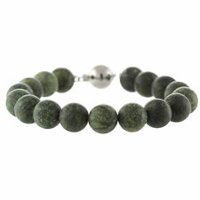 """925 Sterling Silver Ball Clasp Bracelet / Natural 10mm Russian Serpentine 7.5"""""""