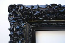 Wide Ornate Antique Black Lacquered Floral Baroque Picture Mirror Frame 12x16
