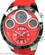 Latest Henley Mens Crazy BIG Red Ana-Digi Sports Watch Alarm LCD Quartz Chrono
