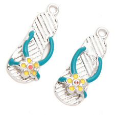 20x New Rhodium Blue Enamel Plated Alloy Slipper Shape Charms Pendant Jewelry D
