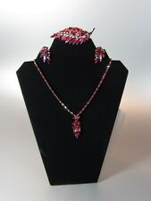 Vintage SHERMAN Signed SIAM RED Rhinestone Set 3 Leaf Floral Necklace brooche