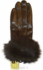 Leather Gloves, Real Fox fur, (S) Women's Gloves, Warm Lined Winter Dress Gloves