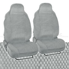 Scottsdale Fabric Seat Covers Front Pair High Back 2pc Checkered Cloth Gray