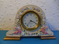 Miniature Napoleon Style Ceramic Floral Desk Clock In Full Working Order.Quartz