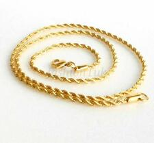 Men Women 24K Yellow Gold Plated Twist Rope Lobster Clasp Chain Necklace 50cm
