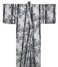 "Japanese Women's Cotton 58""L XL Yukata Kimono TAKE Bamboo Pattern, Made in Japan"