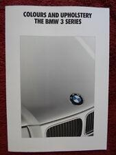 BMW SERIE 3 1991 1992 mercato britannico Colori & Tappezzeria BROCHURE-E36