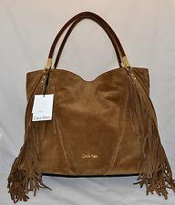 $498 Calvin Klein Fringe Premium Leather Tote Bag Hobo Nutmeg New H6DAM4FK