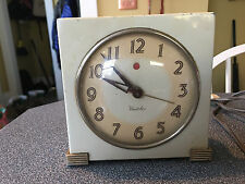 Vintage 1940's Metal Art Deco Westclox Logan S5-F Electric Alarm Clock