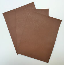 LEATHER PIECES OF COWHIDE 3 @ 20CM X 15CM NUT BROWN 1.2-1.4 MM THICK SOFT FEEL