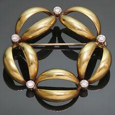 Vintage Classic Diamond 18k Yellow & White Gold Brooch