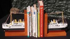 Fantastic detailed wooden model of Titanic Bookends