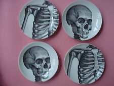 HALLOWEEN APPETIZER PLATES SKULL AND RIBCAGE SET 4 NEW