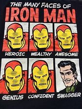 Marvel Comics The Many Faces of IRON MAN black T Shirt sz M medium