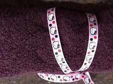 "3 yards 3/8"" Hello Kitty Pink with black and red dots Print Grosgrain Ribbon"