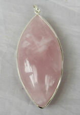 HUGE STERLING SILVER set .925 Brazilian Pink Rainbow Rose Quartz Crystal Pendant