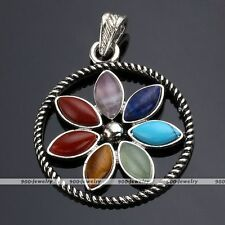 Metal Sunflower Gemstone Chakra Energy Bead Healing Point Pendant For Necklace