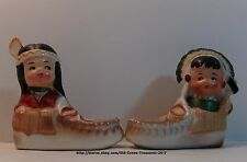 Vintage Native American Boy Girl Moccasins Salt Pepper Shakers Collectible