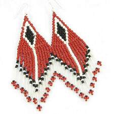 HANDMADE BEADED MAROON EARRINGS BEADWORK E12/30
